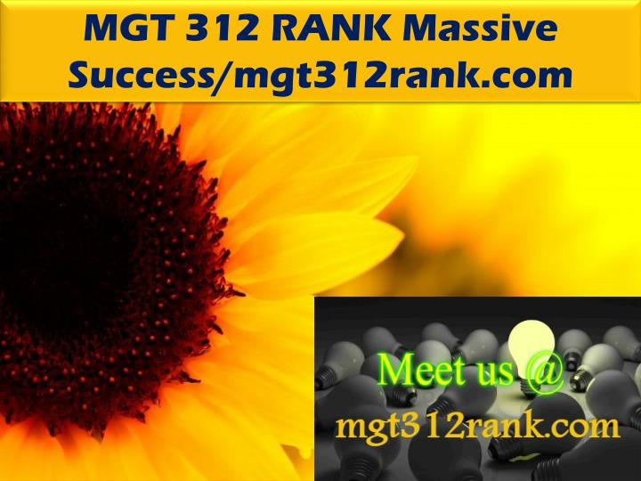 MGT 312 RANK Massive Success/mgt312rank.com