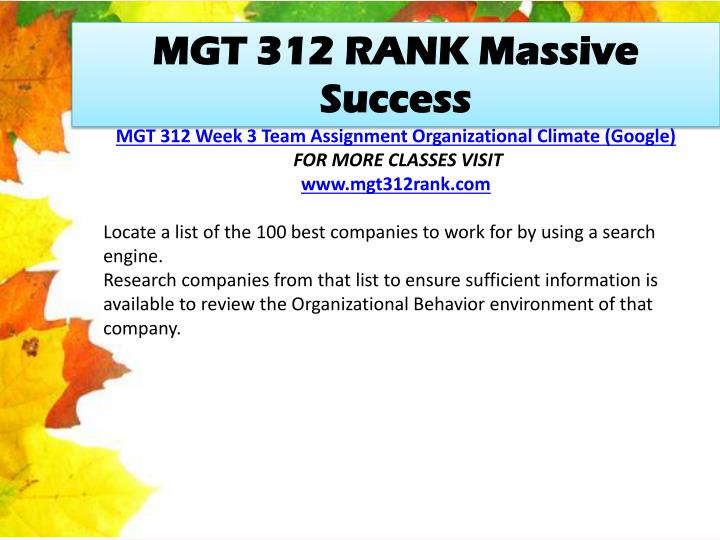 MGT 312 RANK Massive Success