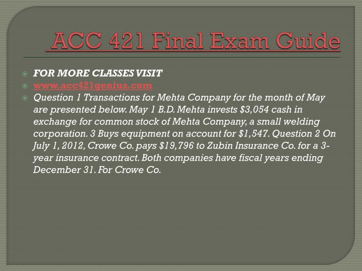 ACC 421 Final Exam Guide