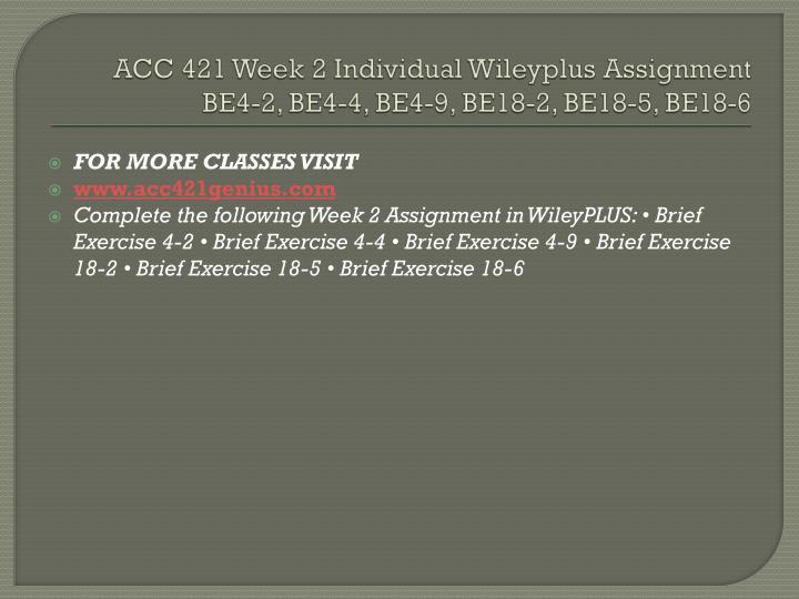 ACC 421 Week 2 Individual