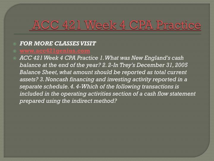 ACC 421 Week 4 CPA Practice
