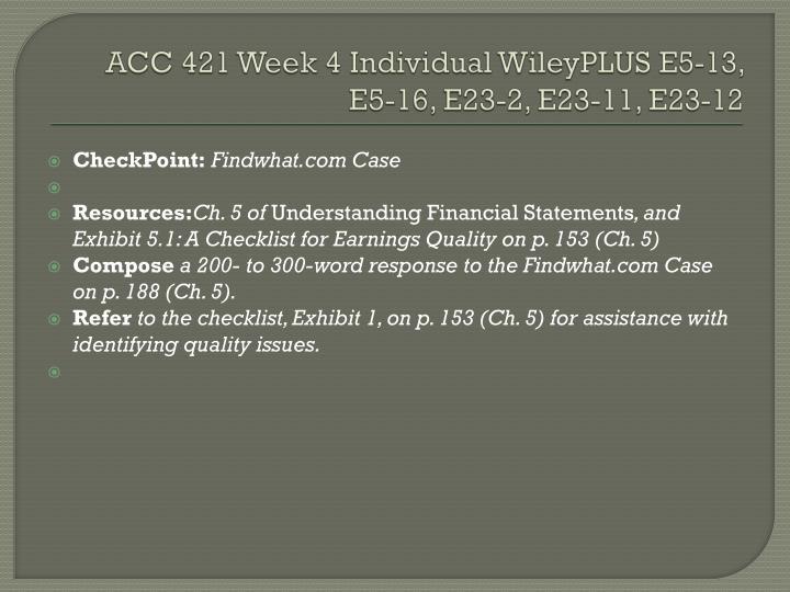 ACC 421 Week 4 Individual