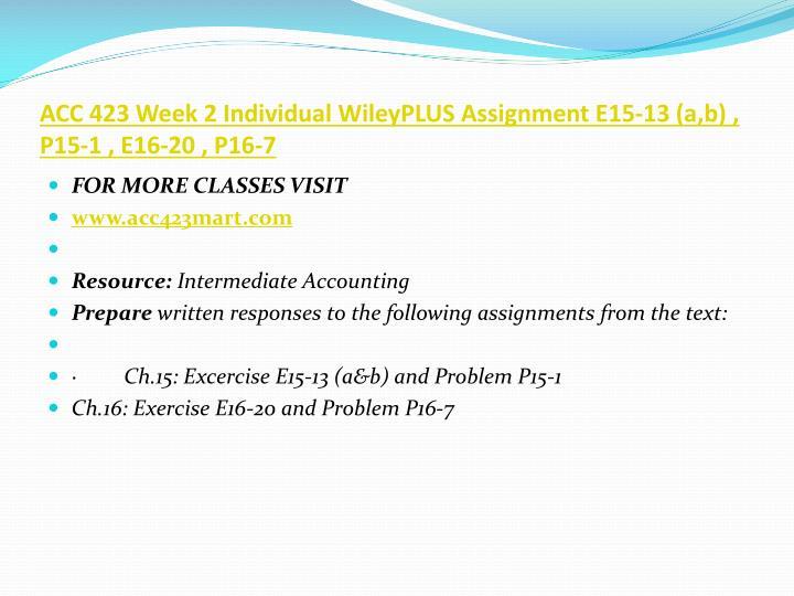 ACC 423 Week 2 Individual