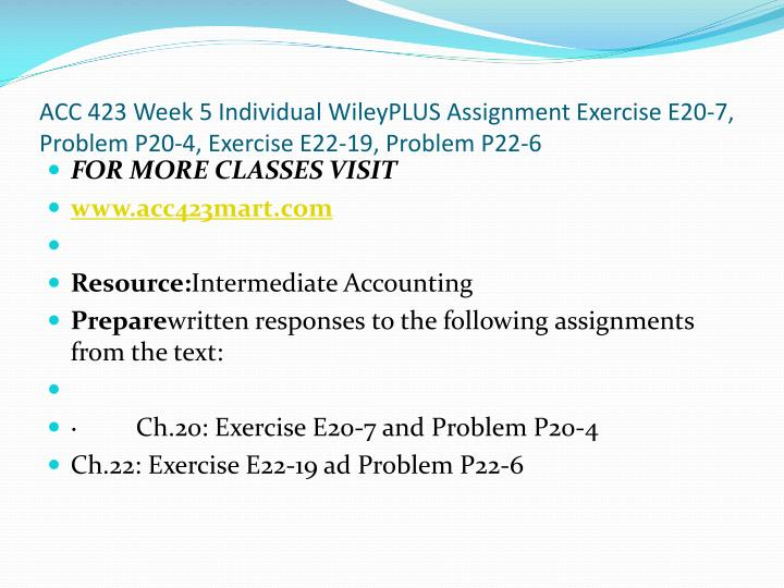 ACC 423 Week 5 Individual