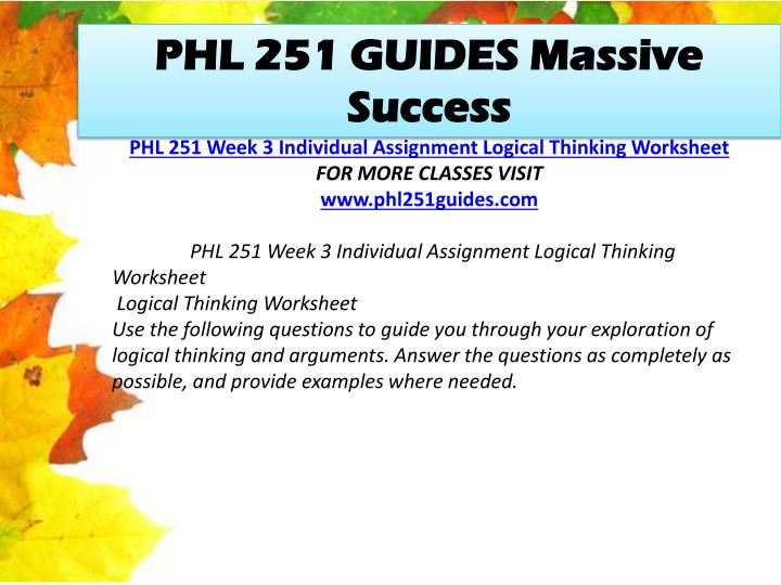 PHL 251 GUIDES Massive Success
