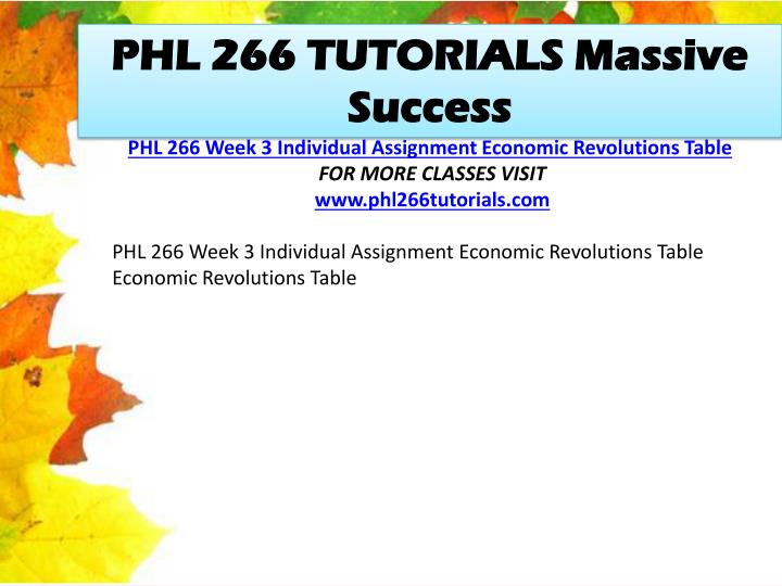 PHL 266 TUTORIALS Massive Success