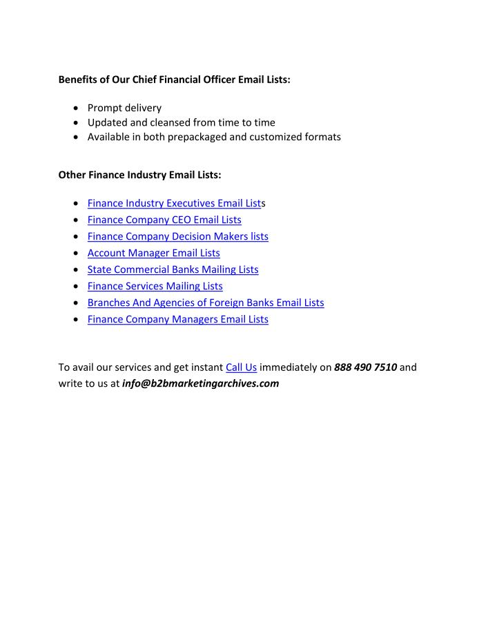 Benefits of Our Chief Financial Officer Email Lists: