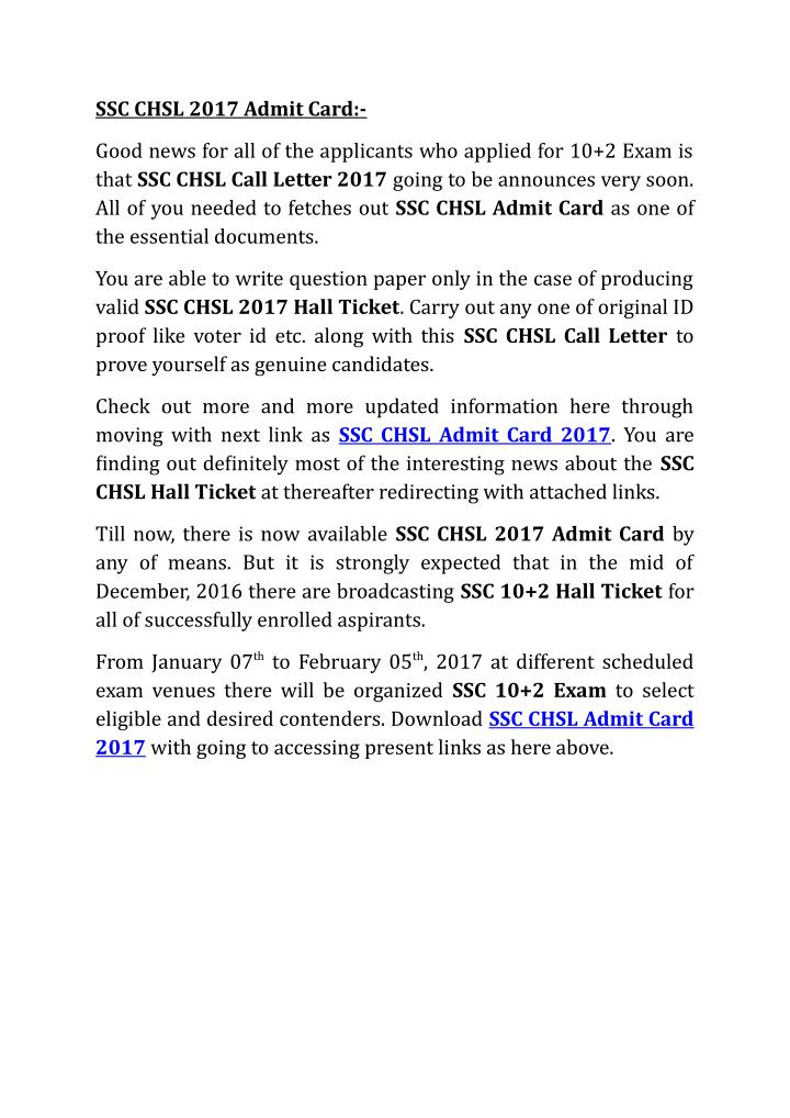 SSC CHSL 2017 Admit Card:-