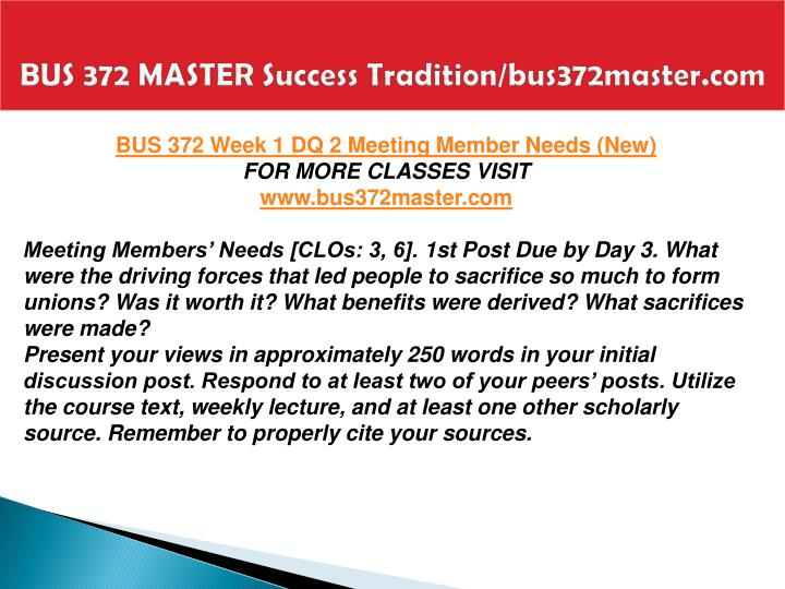 BUS 372 MASTER Success Tradition/bus372master.com