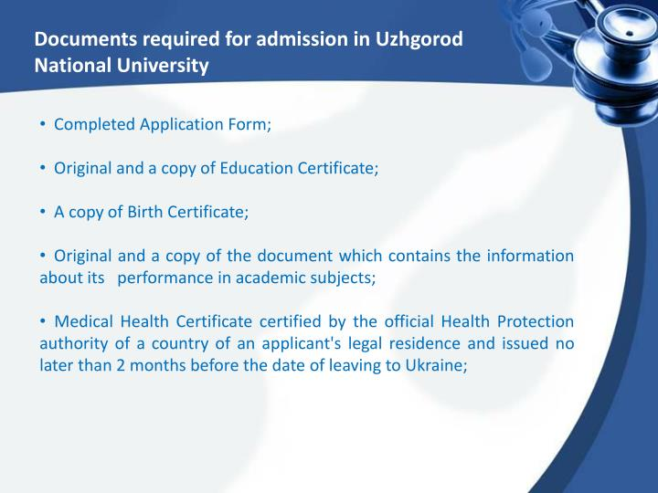 Documents required for admission in Uzhgorod National University