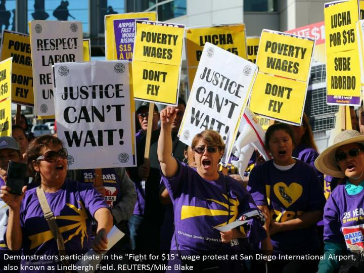 "Demonstrators take an interest in the ""Battle for $15"" wage challenge at San Diego International Airport, otherwise called Lindbergh Field. REUTERS/Mike Blake"