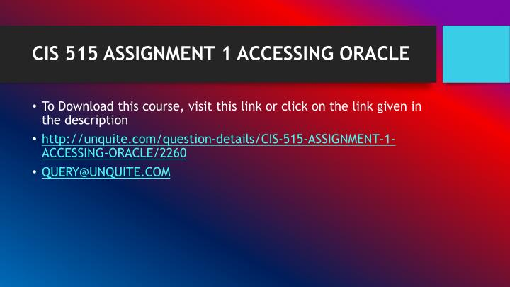 Cis 515 assignment 1 accessing oracle1