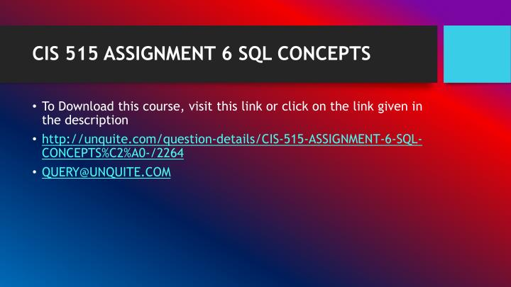 Cis 515 assignment 6 sql concepts1