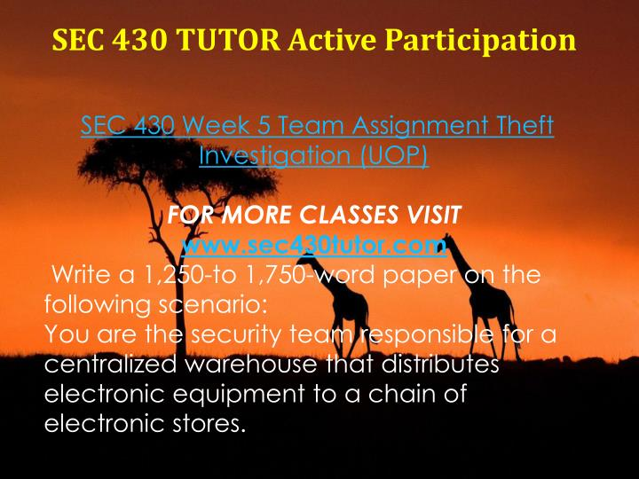 SEC 430 TUTOR Active Participation