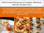italian cuisine restaurants in vaughan burlington oakville or other cities