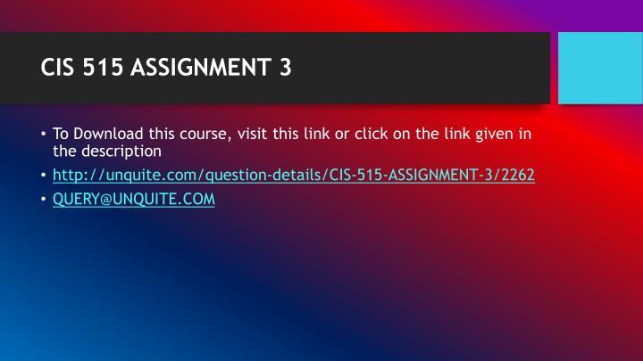 CIS 515 ASSIGNMENT 3