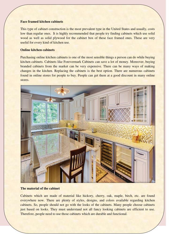 Face framed kitchen cabinets