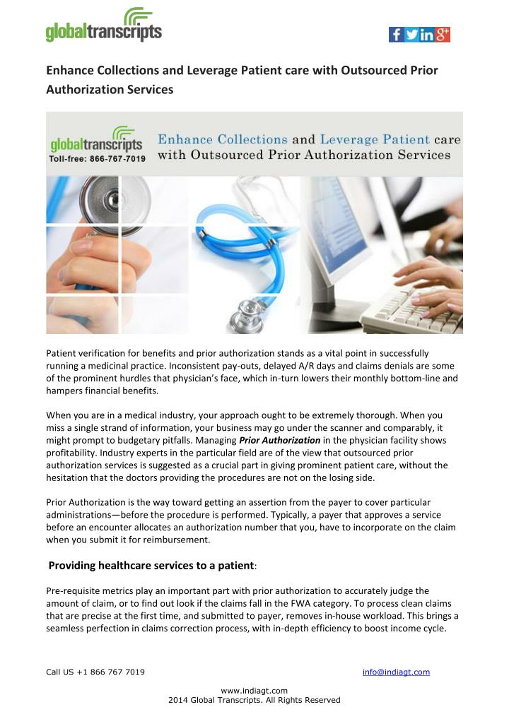 Enhance Collections and Leverage Patient care with Outsourced Prior