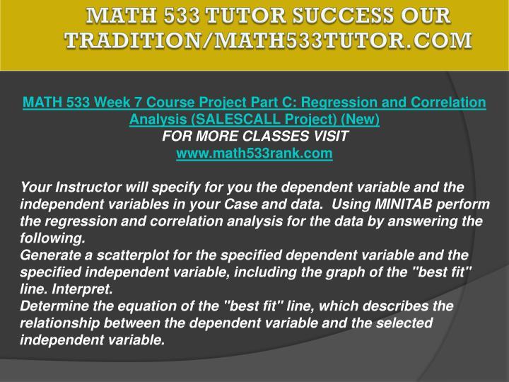 MATH 533 TUTOR Success Our Tradition/math533tutor.com