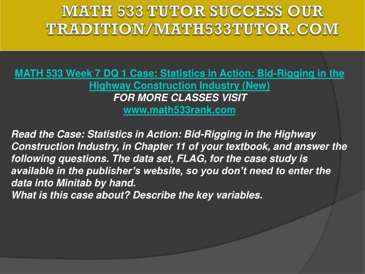 MATH 533 TUTOR Success Our Tradition/math533tutor.com