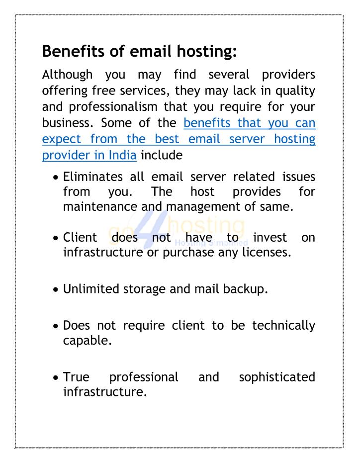 Benefits of email hosting:
