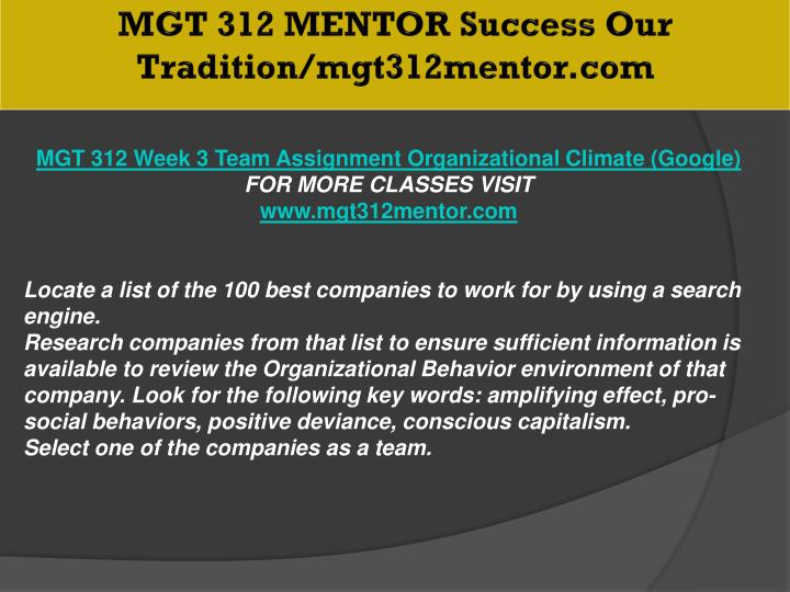 MGT 312 MENTOR Success Our Tradition/mgt312mentor.com