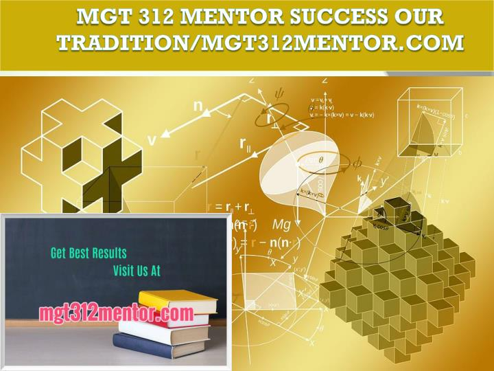 Mgt 312 mentor success our tradition mgt312mentor com