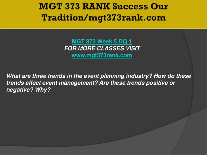 MGT 373 RANK Success Our Tradition/mgt373rank.com