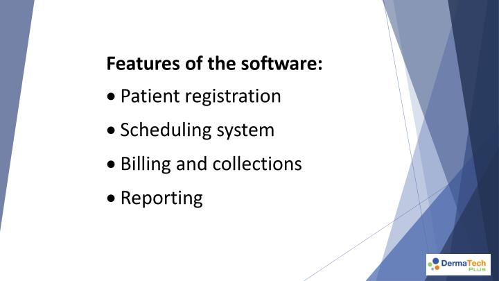 Features of the software: