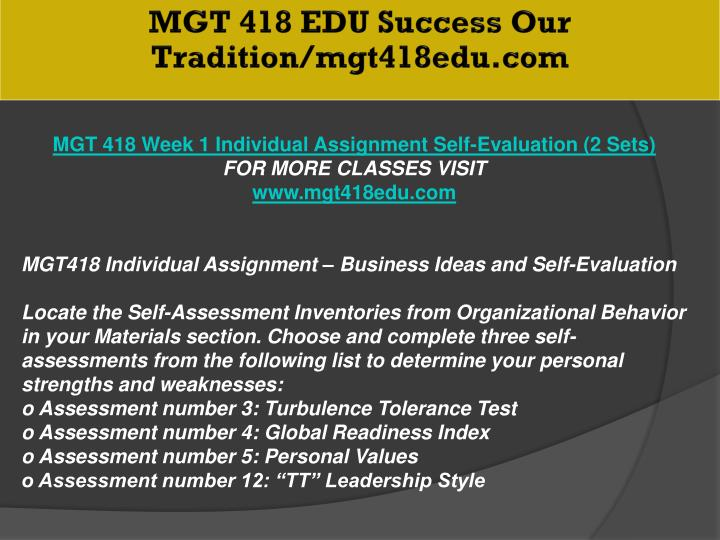 MGT 418 EDU Success Our Tradition/mgt418edu.com