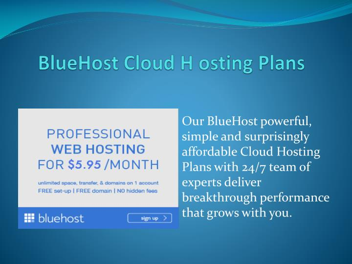 Bluehost cloud h osting plans