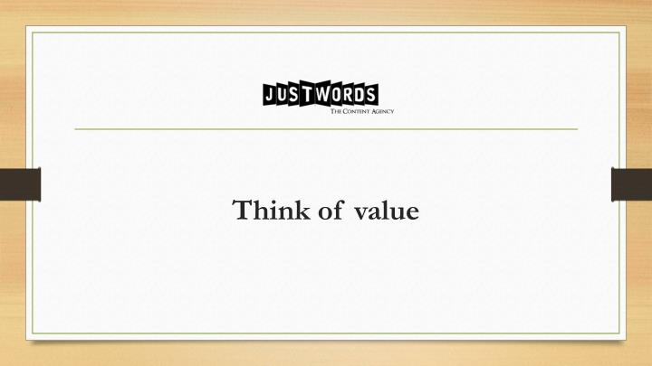 Think of value