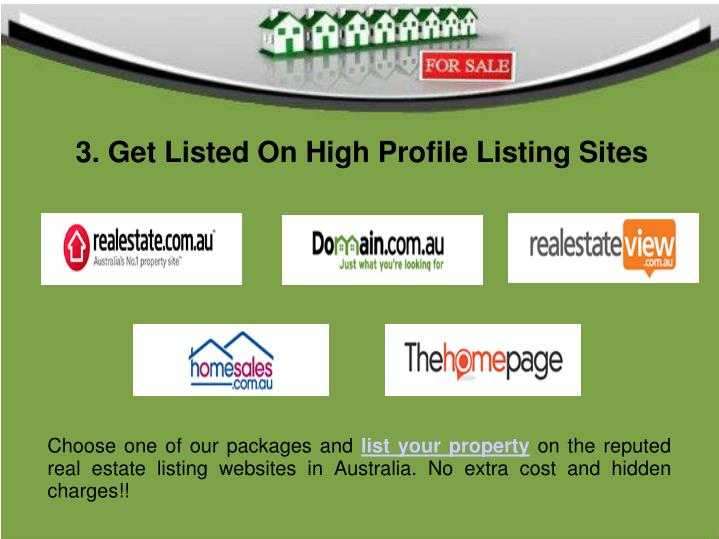 3. Get Listed On High Profile Listing Sites