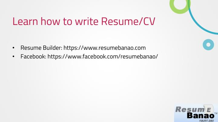 Learn how to write Resume/CV