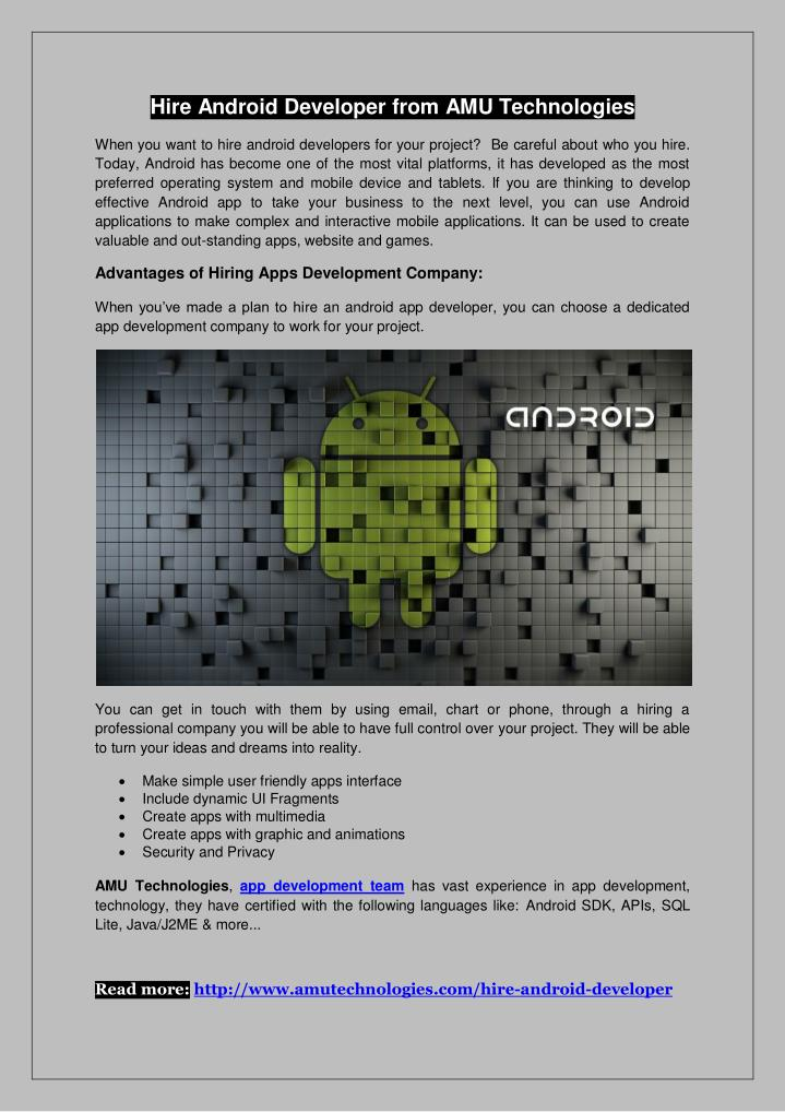 Hire Android Developer from AMU Technologies