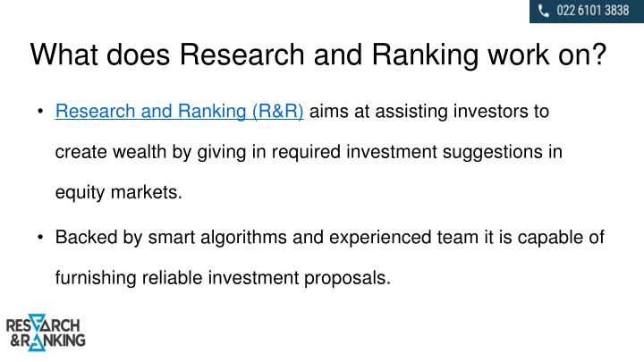 What does Research and Ranking work on?