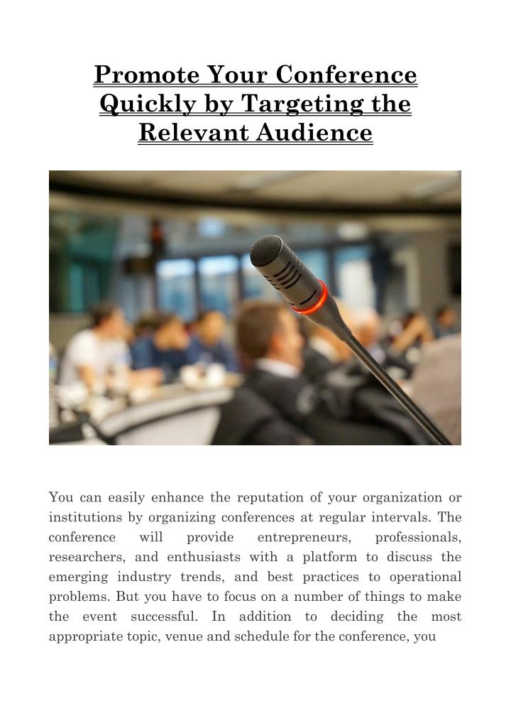 Promote Your Conference