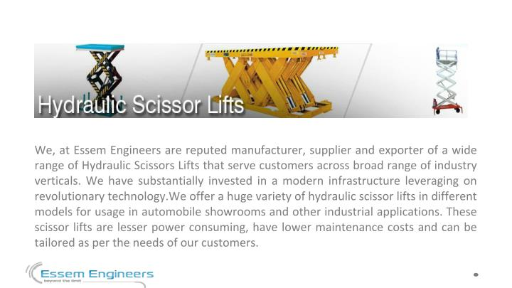 Hydraulic car lift manufacturer essem engineers