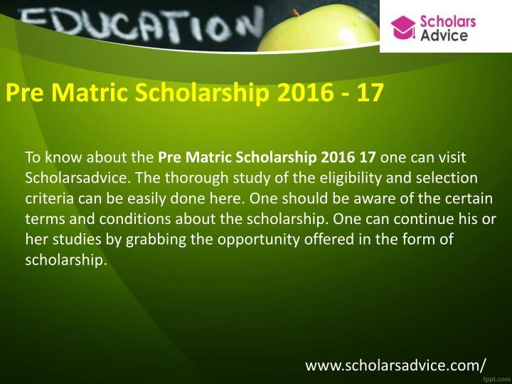 Pre Matric Scholarship 2016 - 17