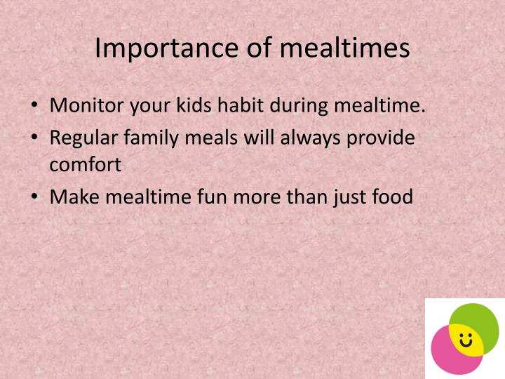Importance of mealtimes