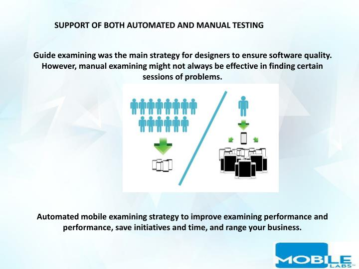 SUPPORT OF BOTH AUTOMATED AND MANUAL TESTING