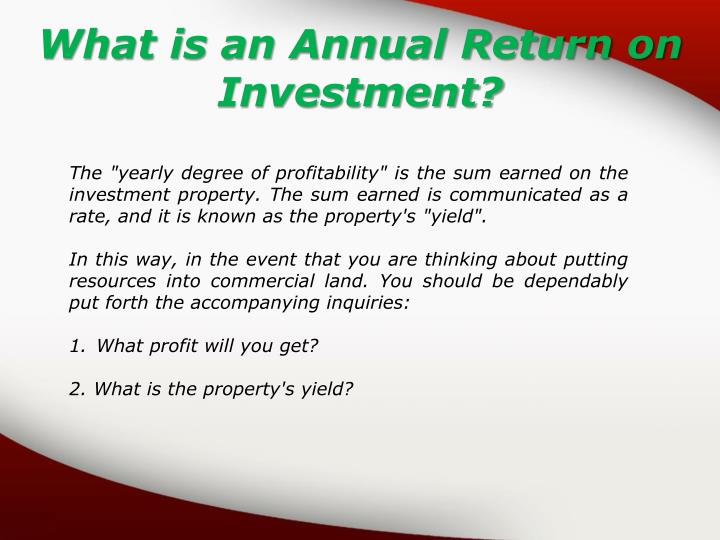 What is an Annual Return on Investment?