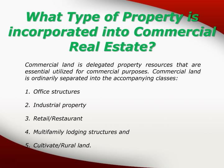 What Type of Property is incorporated into Commercial Real Estate?