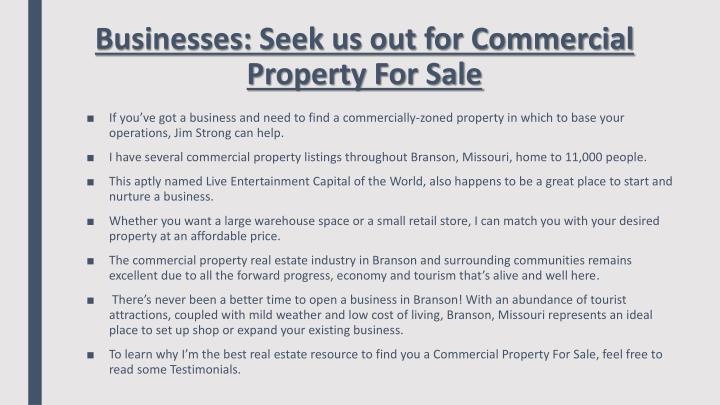 Businesses: Seek us out for Commercial Property For Sale