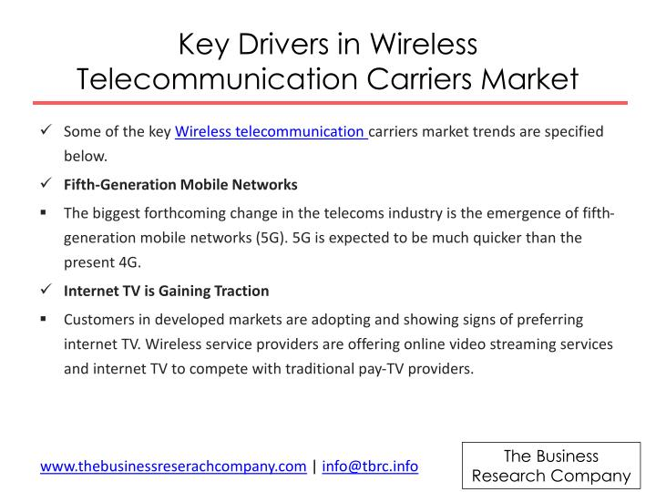 Key drivers in wireless telecommunication carriers market