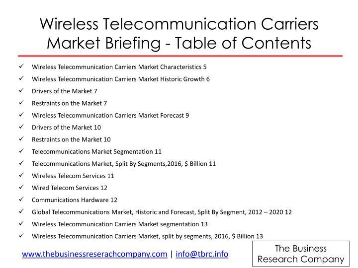 Wireless Telecommunication Carriers Market