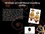 all kinds of gold plated jewellery online