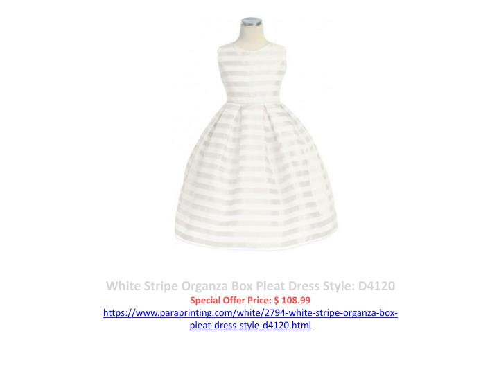 White Stripe Organza Box Pleat Dress Style: D4120