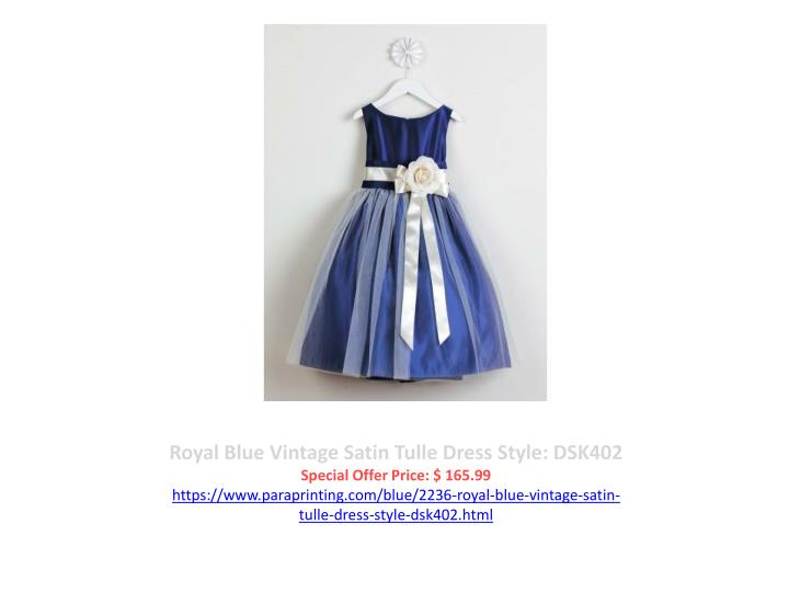 Royal Blue Vintage Satin Tulle Dress Style: DSK402
