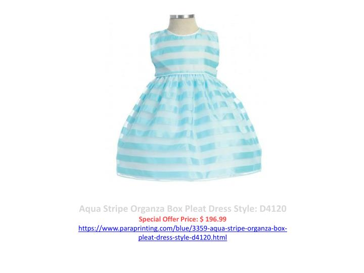 Aqua Stripe Organza Box Pleat Dress Style: D4120